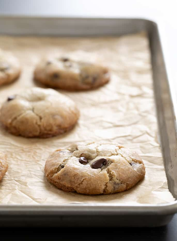 These vegan gluten free chocolate chip cookies are thick and extra chewy, and they're perfect if you're out of eggs or just don't eat them.