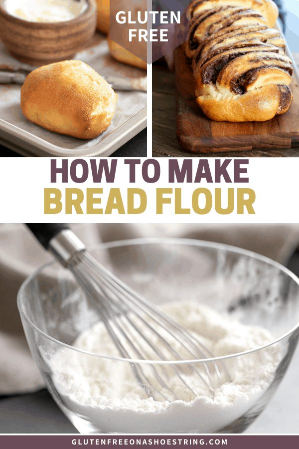 How to make gluten free bread flour, with a bowl of the flour and two breads you can make with it.