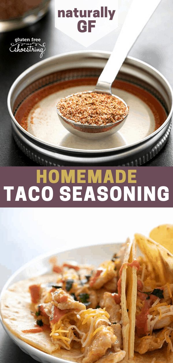 Image of both spoonful of homemade gluten free taco seasoning and chicken tacos made with the seasoning.
