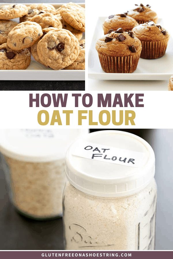 Image of homemade oat flour in jar and cookies and muffins made with oat flour.