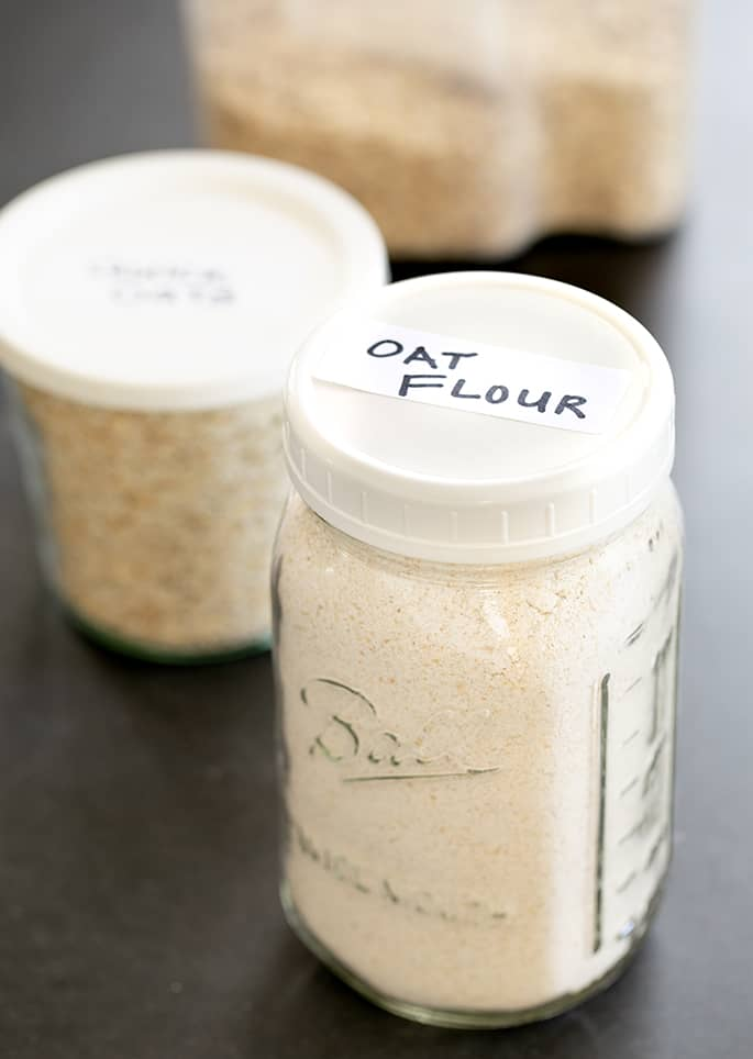 Image of homemade oat flour and quick oats made from rolled oats.