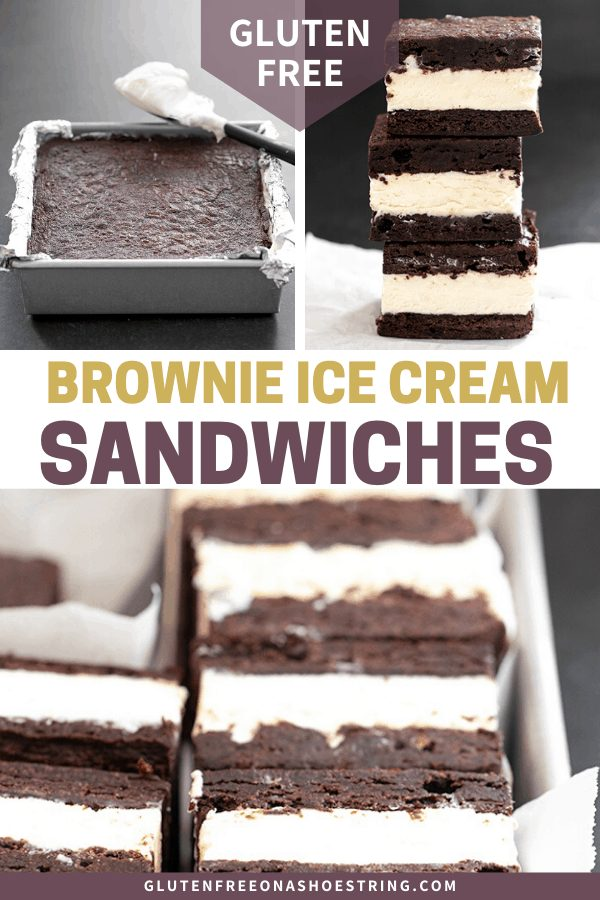 Brownie ice cream sandwiches uncut in the pan, cut in the pan, and in a stack of 3