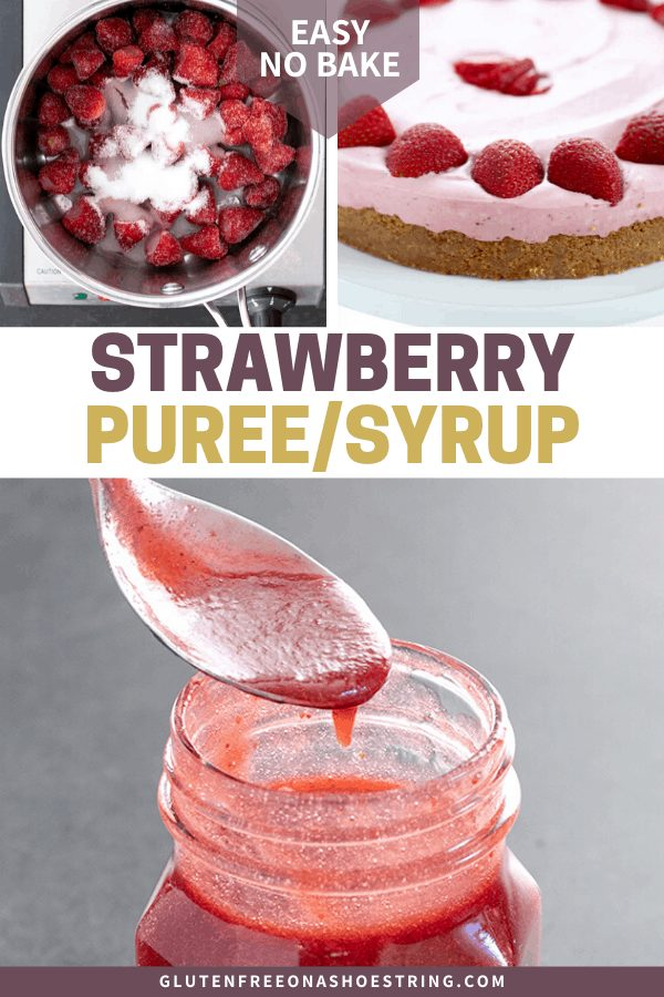 Strawberry puree ingredients in pan, used in a no bake strawberry cheesecake, and in a jar.