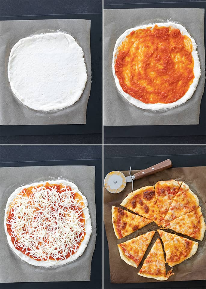 New York Style Pizza raw, with sauce, with sauce and cheese, and baked and sliced