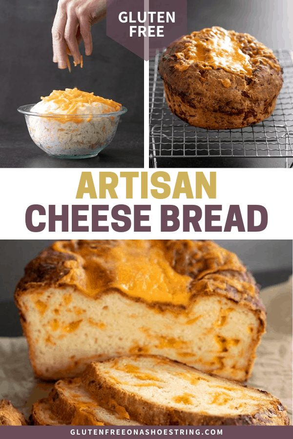 Artisan cheese bread raw and risen, baked on a wire rack, and partially sliced on brown paper