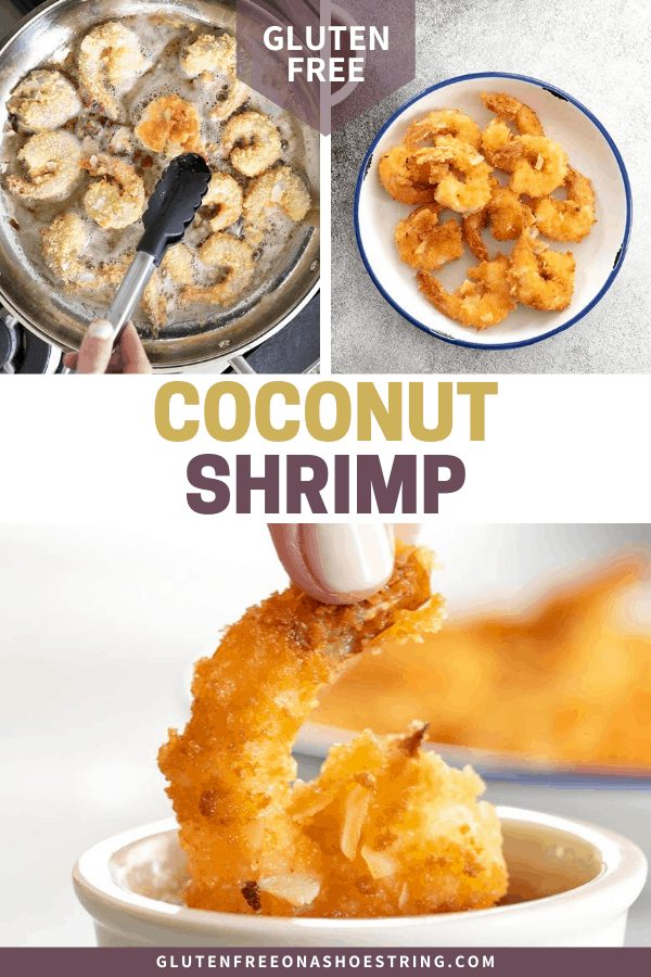 Coconut shrimp frying in oil in a skillet, fried on a plate, and being dipped in a ramekin of sauce