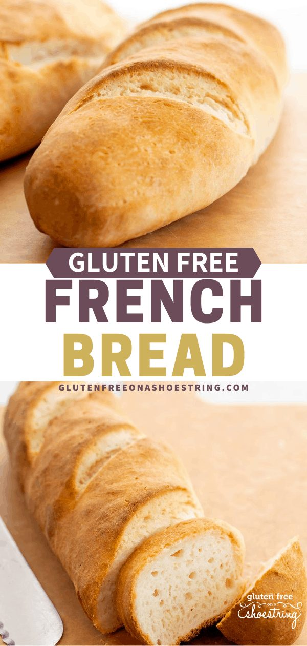 Whole French bread loaf and partially sliced French bread loaf
