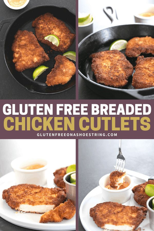 Gluten Free Breaded Chicken Cutlets in the pan and cut on a plate