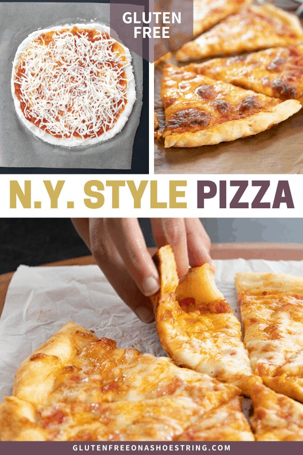 Overhead image of pizza pie, closeup of crust, and pie with hand taking a slice