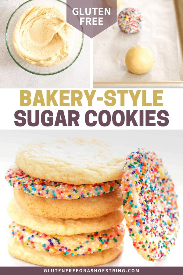 Bakery Style Sugar Cookie dough in a bowl, shaped on a tray, and baked in a stack on white paper