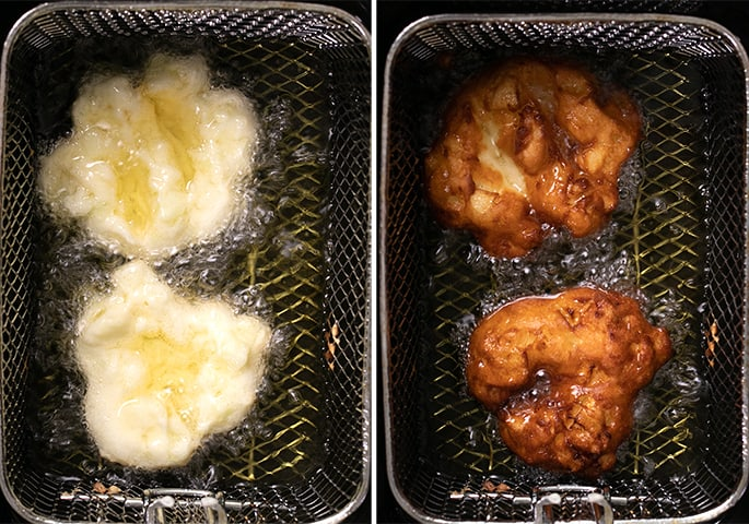 Apple fritters in frying oil, raw and fried