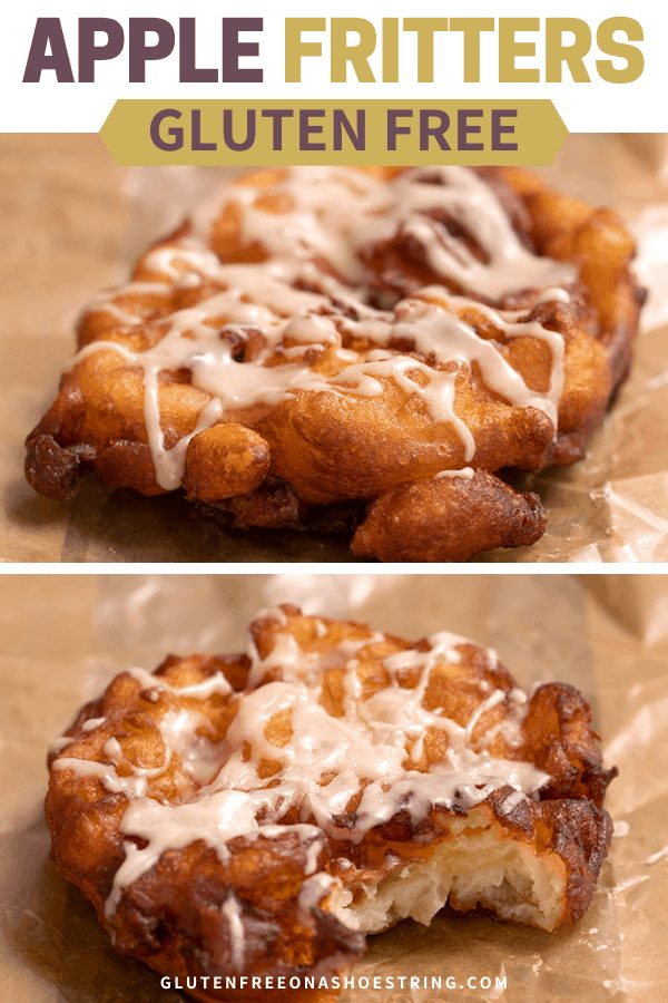 Gluten Free Apple Fritters one whole one with a bite taken