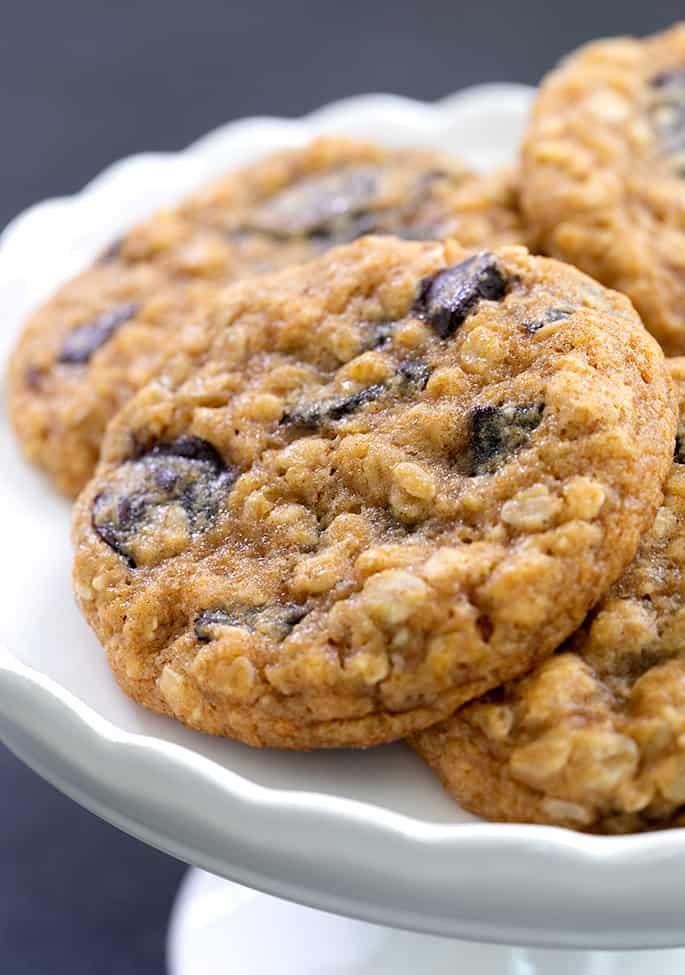 Closeup image of pumpkin oatmeal cookies on a cake plate