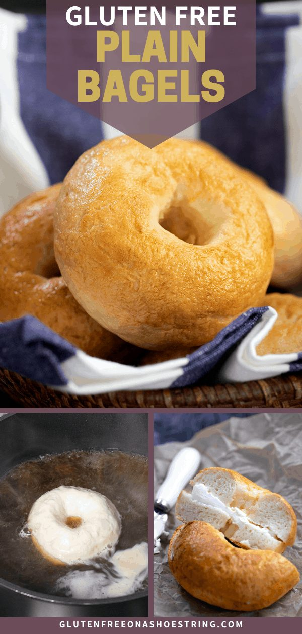 Plain bagels in brown basket, raw boiling in water, and sliced in half with cream cheese