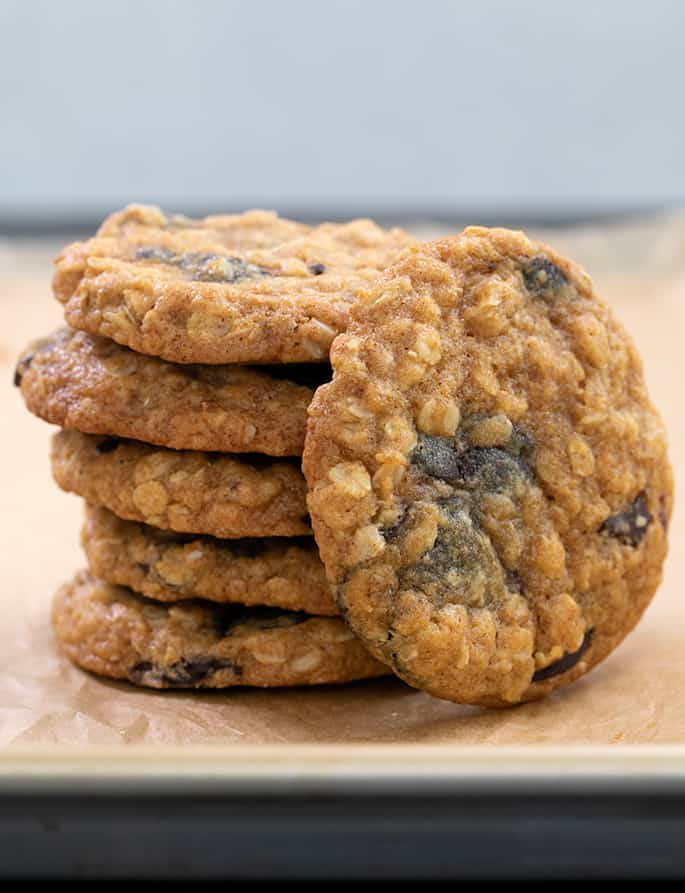 stack of pumpkin oatmeal cookies with one on its side