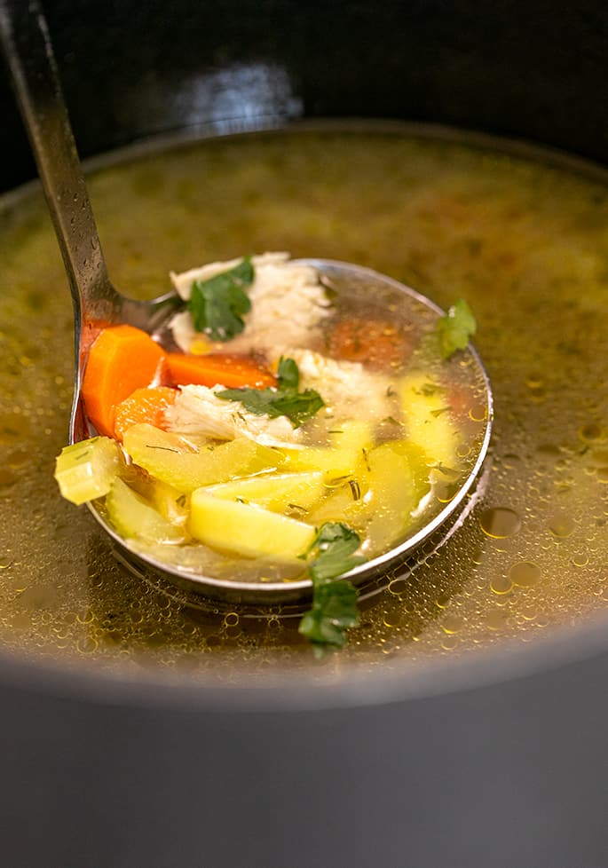 Ladle with chicken noodle soup in pot
