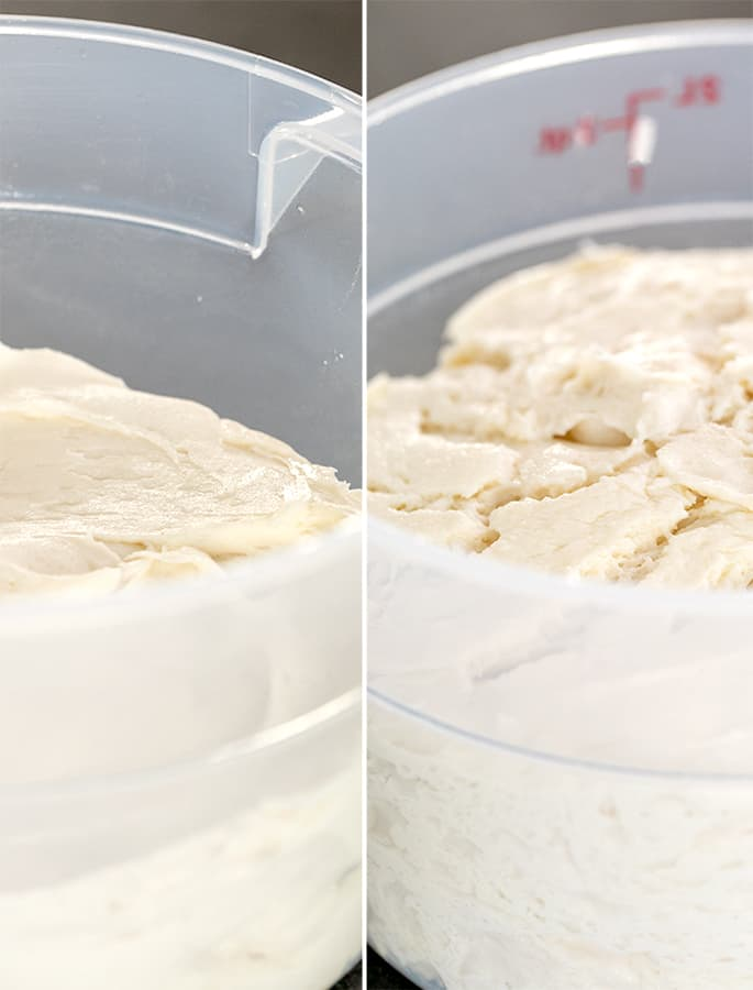 Side by side images of raw focaccia dough in buckets unrisen and risen