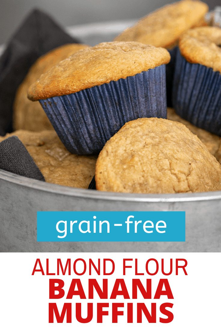Words grain-free almond flour banana muffins on image of muffins in round metal tin