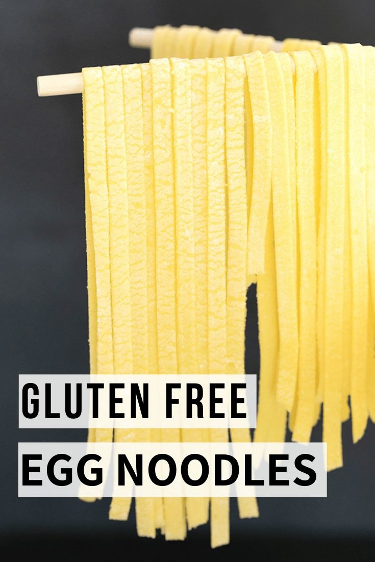 Word gluten free egg noodles on top of image of drying fettuccine on pasta drying rack