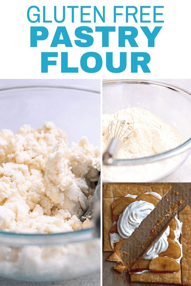 Words gluten free pastry flour with images with pastry dough in a bowl, pastry flour in a bowl and an apple pastry tart