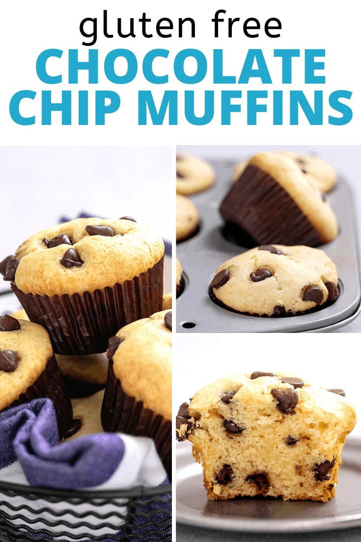 Words gluten free chocolate chip muffins with images of Chocolate Chip Muffins in a pile in a wire basket, in a muffin tin, and one muffin cut in half on a small pewter plate
