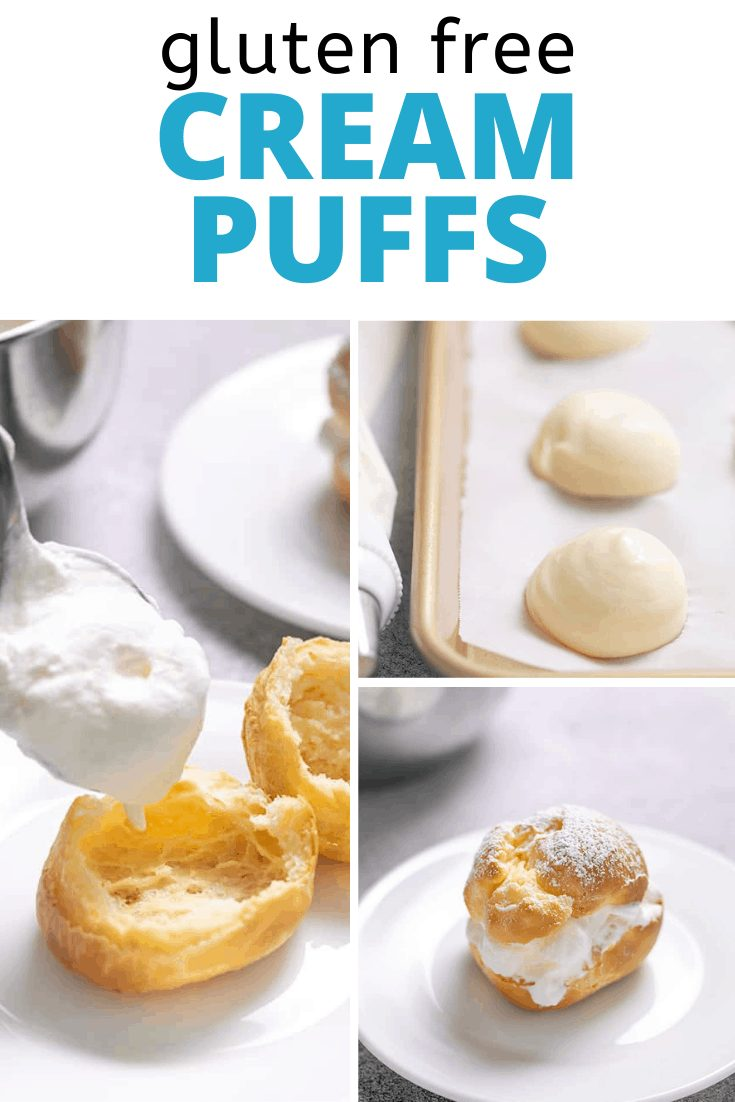 Words gluten free cream puffs on page with raw choux pastry dough, filled pastry, and cream on spoon falling into pastry half