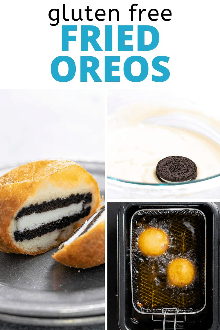 Words gluten free fried Oreos with fried Oreo cut in half on small plate, cookie in pancake batter in bowl, and Oreos frying in oil