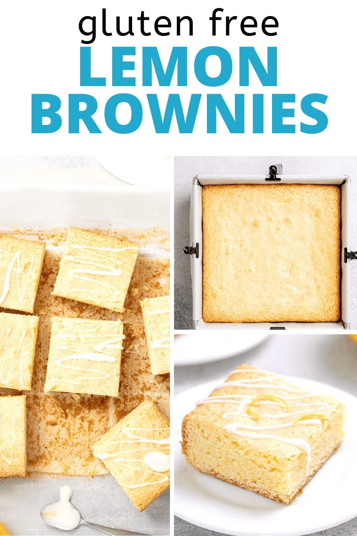 Words gluten free lemon brownies with images of uncut lemon brownies in square pan, glazed lemon brownies cut on paper, and one lemon brownie with glaze on small white plate