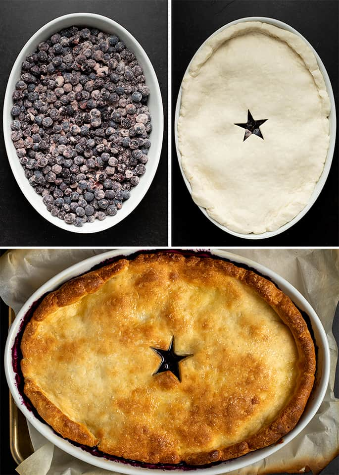 Collage image of raw blueberry filling in oval dish, pie crust with star cutout on oval dish, and baked blueberry cobbler in oval dish