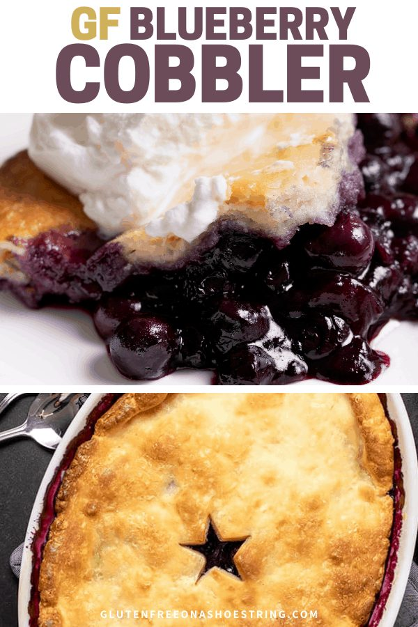 Words gf Blueberry Cobbler with closeup of blueberry filling and some pie crust on top with an overhead image of the baked pie in a white oval dish