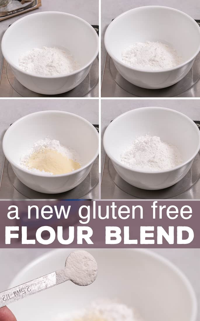 words a new gluten free flour blend on top of 4 bowls with different flours added and a half teaspoon of powder