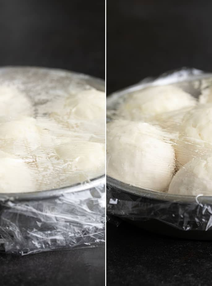 Side by side images of rising rolls and risen rolls both in the same metal pan and covered in plastic wrap