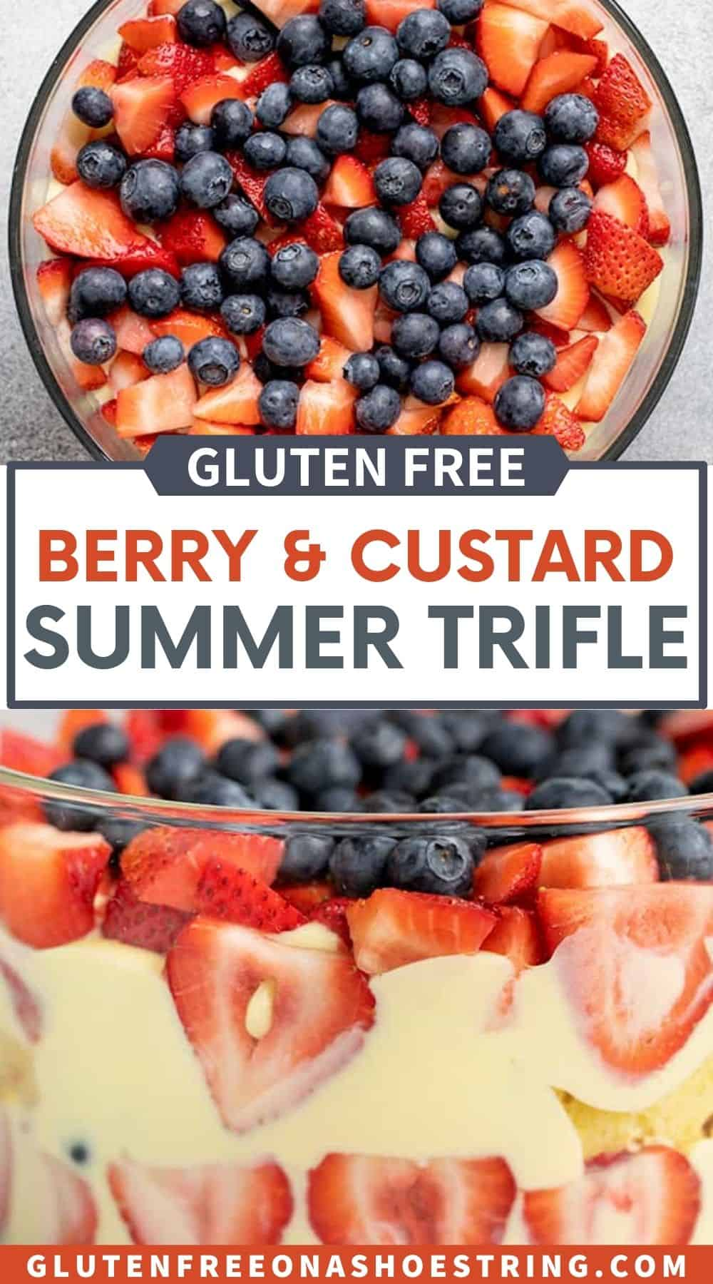 Words gluten free berry and custard summer trifle on images of berries in glass bowl and side image of custard and berries in glass bowl