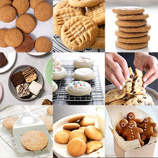9 square images of gluten free cookies of all kinds