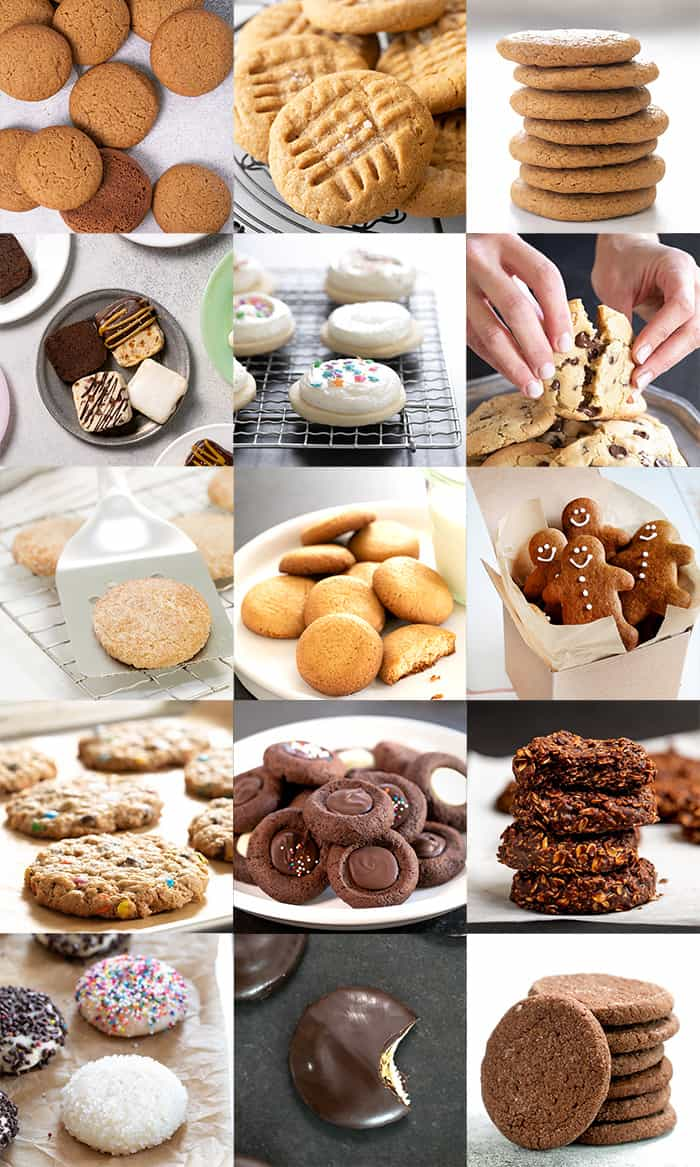 Square images of 15 gluten free cookies in stacks, on plates, and on baking trays.
