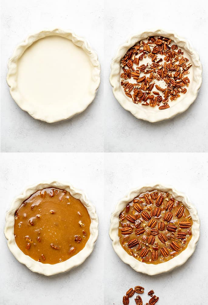 4 images of gf pecan pie being made with a bare crust, crust with pecan pieces, filling on top, and decorative pecans on top ready to bake